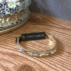 Vince Camuto, Gold-Tone Gem Drops Hinged Bangle